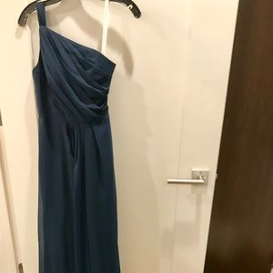 Custom made to fit Navy one shoulder gown